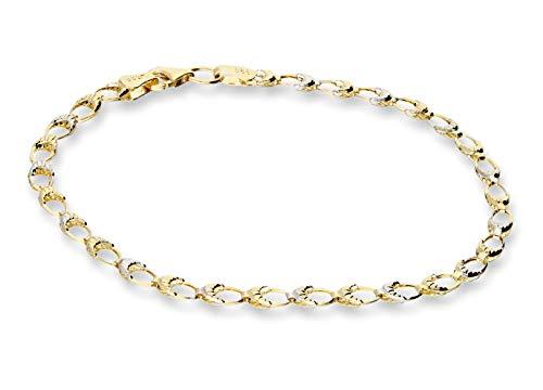 mk-silber Echter 585 Gold Armband Gelbgold,-Weißgold 14 Karat, Bicolor, 19cm, Schmucketui