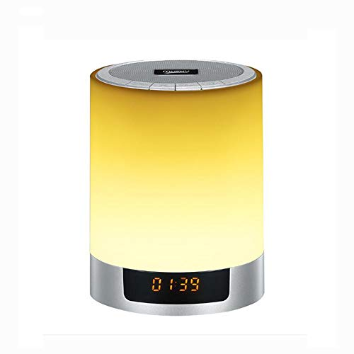 RHXX Bluetooth luidspreker met touch bedlampje 12/24 uur digitale wekker mannen vrouwen tieners kinderen slaapmiddel