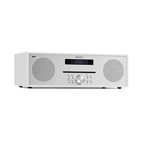 AUNA Silver Star CD-Dab - Radio, Dab+ et FM, Panneau Frontal élégant, AUX in, USB, Prise Casque, Bluetooth, 2 x 20W, Son stéréo, Boîtier Imitation Bois, Blanc