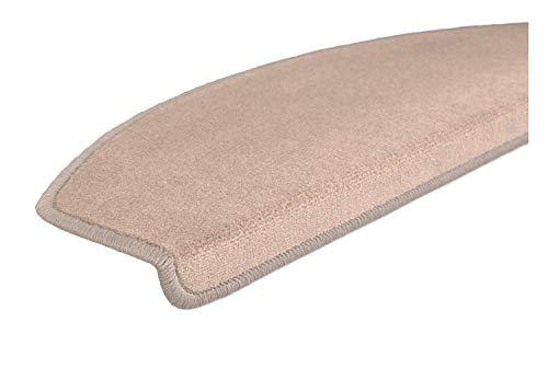 EXKLUSIV HEIMTEXTIL Stufenmatten Vorwerk Velour einfarbig halbrund Hellbraun 15 Set