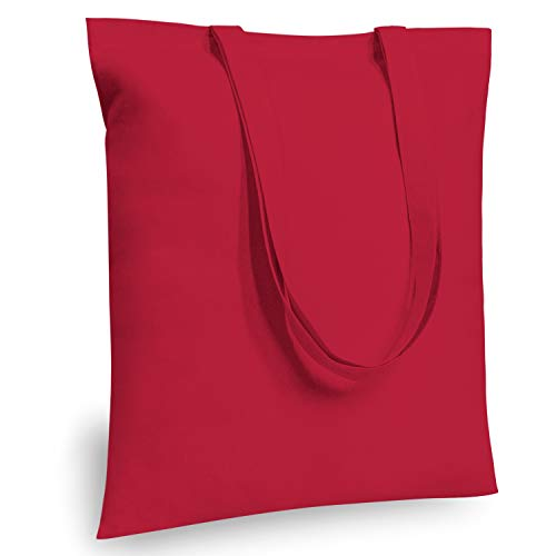 """TOPDesign 5   12   24 Pack Economical 16\""""x15 Red Cotton Tote Bag, Lightweight Medium Reusable Grocery Shopping Cloth Bags, Suitable for DIY, Advertising, Promotion, Gift, Giveaway, Activity (5-Pack"""