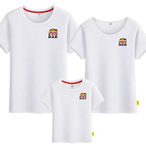 SANDA T-Shirt Mujer,Camiseta para Padres y niños, un jardín de Infantes de Manga Corta de Tres o Cuatro Grandes tamaños.-Blanco_Papá m