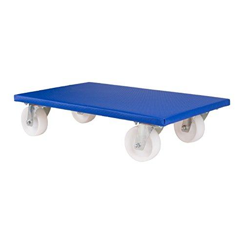 Möbelroller 350 x 590 mm, 4-fach Verschraubung der 360° Lenkrollen, belastbar bis 500 kg, Antirutschbelag, 2 Stück