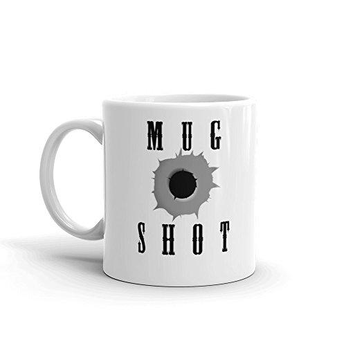 Mug Shot Calembour humoristique Humour blancs de 311,8 gram à café en céramique Tasse à thé