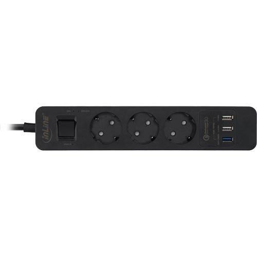 Inline, stekkerdoos, 3-voudig beveiligd contact, netspanningsbeveiliging en QuickCharge USB, met schakelaar, 1,5 m, zwart