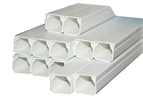 Kabelkanal selbstklebend Kunststoffkanal verschiedene Größen Verdrahtungskanal Leitungskanal reinweiß mit Deckel, PVC Kanal (10m 20x20mm)
