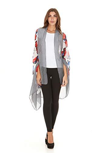 Laundry By Shelli Segal Women Fashion Scarves Lightweight Scarf Wrap Shawl (White Multi)