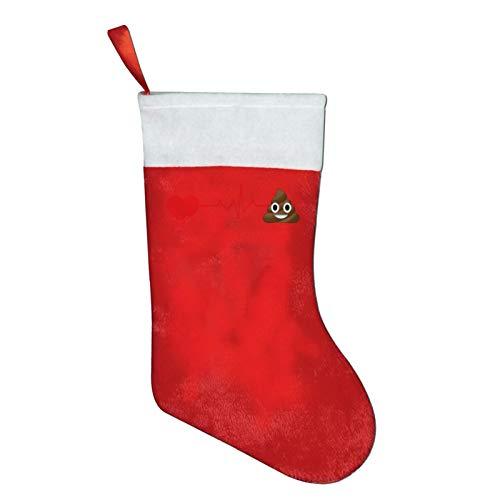 I Love Poop Heartbeat Christmas Stockings Xmas Gift 16.5' Christmas Socks Santa Christmas Tree Hanging Ornament Fireplace Xmas Tree Holiday Party Decoration Gifts