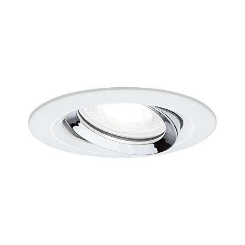 Paulmann Nova Plus 93673 Spot LED encastrable rond et orientable avec 1 x 6 W IP65 à intensité variable Blanc mat Chrome Spot encastrable en aluminium zinc 4000 K GU10