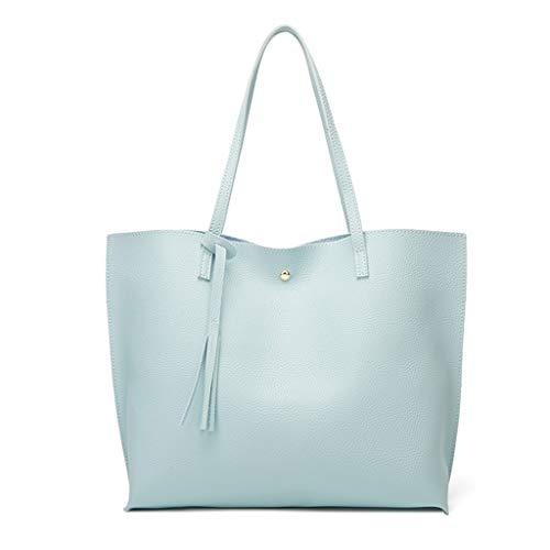 COZOCO Damenmode Fransen Feste Handtasche Große Kapazität Shopping Schulter Tote Handtasche Tasche(blau)