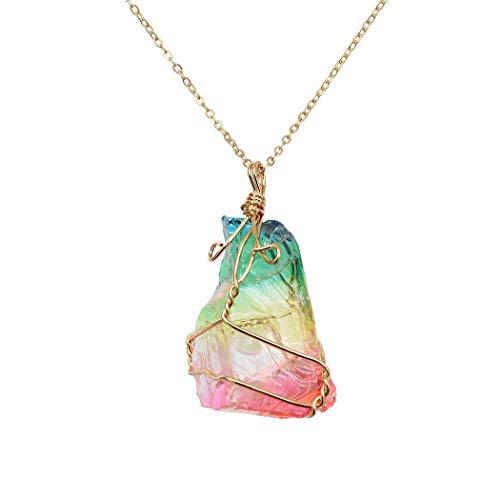 Natural Rainbow Stone Healing Crystal Rock Cuarzo Colgante Collar Birthstone Chapado En Oro Cable Completo Wrap Collar de Piedras Preciosas Joyas (Color arcoiris)