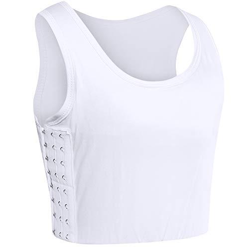 XUJI Transgender FTM Big Size Chest Binder Strapless Zip up Built-in Elastic Band Flat Slim Fit Tops (White, XXL)