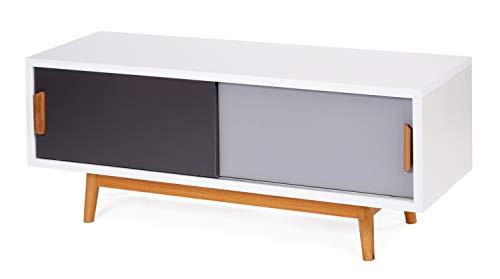 ts-ideen Mobile porta televisore 120x55 cm stile retro in Bianco Grigio e Grigio Scuro doppio sportello scorrevole