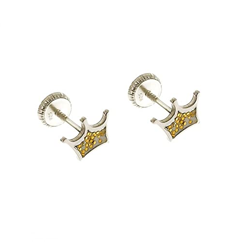 Minoplata Pendientes corona con purpurina dorada de Plata de ley 925 para niñas coquetas, el regalo más bonito y original