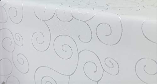 First-Tex Ornament Damast Tischdecke 160x260 oval weiß*