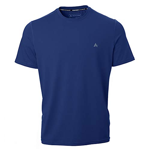 Arctic Cool Men's Crew Neck Instant Cooling Moisture Wicking Performance UPF 50+ Short Sleeve Shirt | Lightweight Breathable Tshirt for Running, Workout, Exercise, Fishing, Midnight Navy, XL
