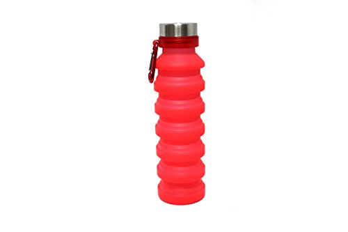 Royal Brands Botella de Agua Plegable, Suave, pequeña, roja, de Silicona, para Deportes, Botella de Agua Ampliable, para Viajes, Camping, Fitness, portátil