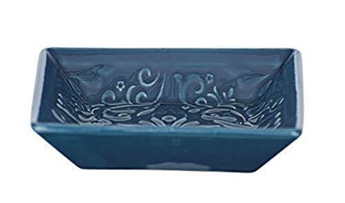 WENKO Seifenablage Cordoba Blau Keramik - Seifenschale, Keramik, 10.5 x 2.5 x 10.5 cm, Dunkelblau