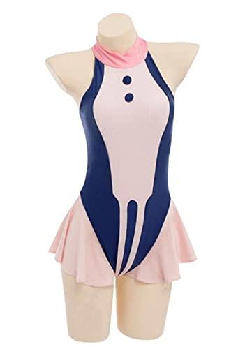 qelini Cosplay Costume Mha Ochako Uraraka Woman One Piece High Cut Beach Swimsuit - Bodysuit Turtleneck High Neck Zip Back Swimwear Bathing Suit - Takinini Bathing Suits - One Peice Bath Suit