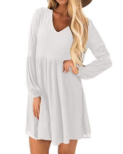 YOINS Kleider Damen Sommerkleid für Damen Brautkleid Tshirt Kleid Rundhals Langarm Minikleid Winterkleid Langes Shirt Lose Tunika Baumwolle-weiß EU48