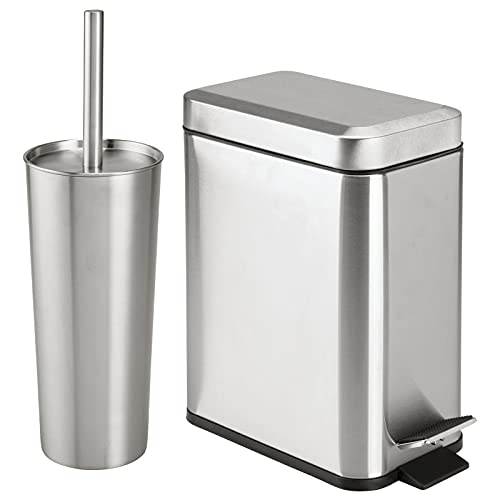 mDesign Metal Freestanding Slim Toilet Bowl Brush and Holder + Rectangle Narrow Step-On Trash Can Wastebasket for Bathroom Storage - Small, Compact Design - Brushed/Chrome