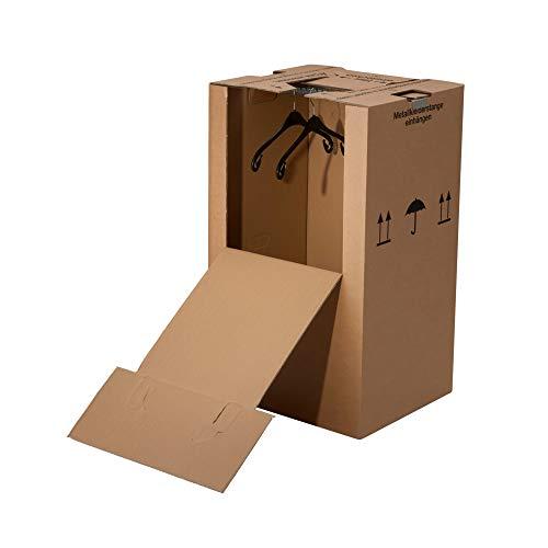 2 Kleiderboxen Mini 600 x 510 x 1000 mm inkl. Kleiderstange Umzug Kleider Karton Kiste Verpackung