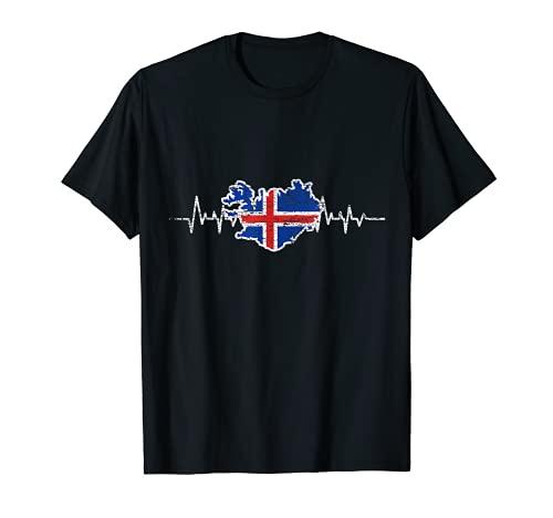 Herzschlag Isländische Flagge Geschenk Island T-Shirt