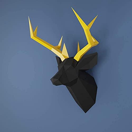 Hirsch, Hirschkopf, Yona DIY Papercraft Kit, Rehkopf, papier modell, 3D Origami Kit von Hand zusammenzubauen, Heimdekoration, Geschenk, Origami 3D, Papier Handwerk, Puzzle 3D,Deer head black golden.