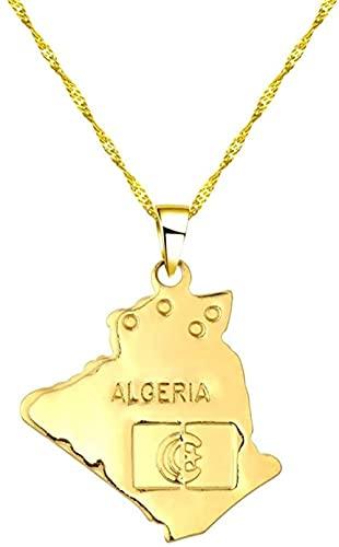NC110 Collar con Colgante de Mapa de Argelia con Estrella de Hip Hop, Gargantilla de Cadena de Moda Dorada para Mujeres, Hombres, Mapa del Mundo, Accesorios de Ropa YUAHJIGE