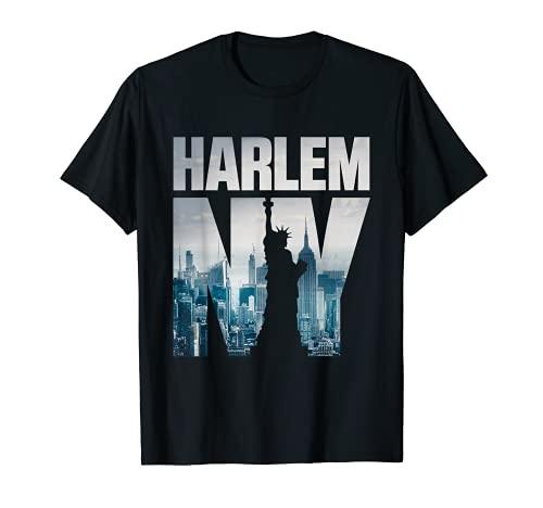 Harlem Camisas, Harlem New York City Skyline Manga Corta Camiseta