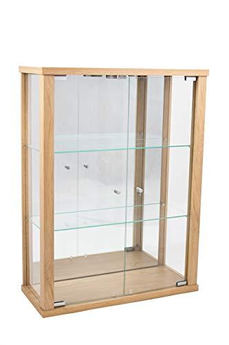 K-Möbel Glasvitrine in Buche (80x60x25 cm) mit 2 höhenverstellbaren Glasböden aus ESG, LED und Spiegel; beleuchet; perfekt für Sammler;
