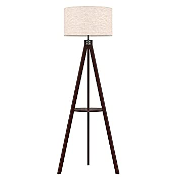 LEPOWER Wood Tripod Floor Lamp Mid Century Standing Wooden Lamp Modern Design Studying Light with Shelf for Living Room Bedroom Office  Flaxen Lamp Shade with E26 Lamp Base