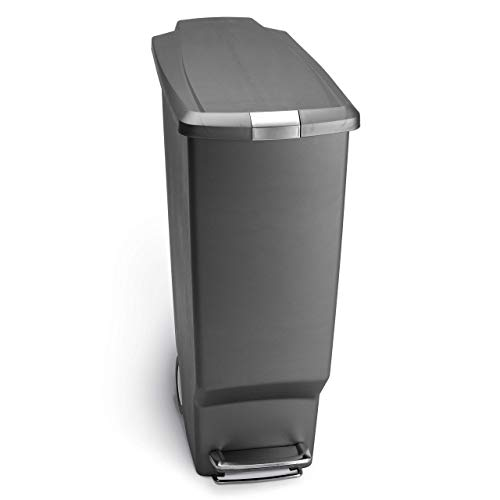 simplehuman 40 Liter / 10.6 Gallon Slim Kitchen Step Trash Can, Grey Plastic With Secure...