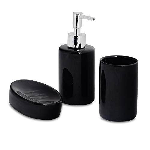 Harbour Housewares Set de baño de 3 Piezas - Dosificador de jabón, Vaso para cepillos de Dientes y jabonera - Negro