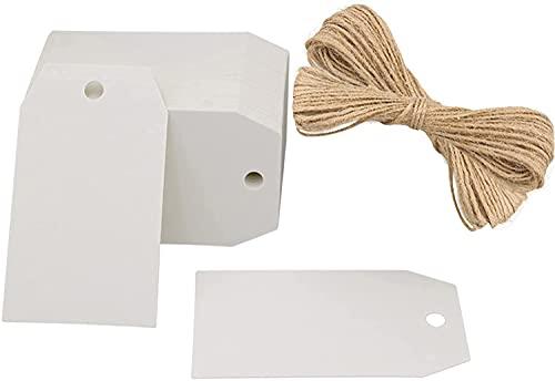 100 etiquetas kraft etiquetas etiquetas de regalo 4 cm x 7 cm blanco etiquetas Etiqueta de navidad para bodas,cumpleaños y...