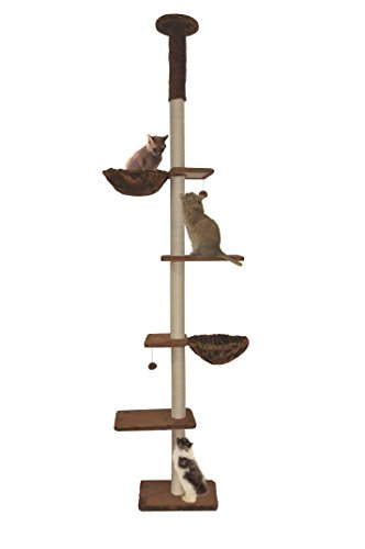 Roypet Upgraded Stable Adjustable 90'-116' Tall Cat Climbing Tree with Perches with Fixing Tool, Coffee