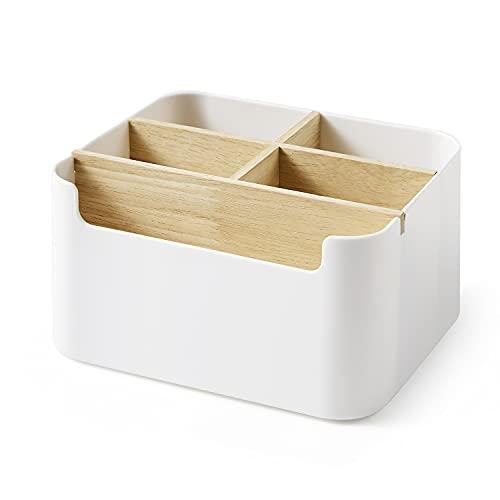Faffooz Organizador de Escritorio, Caja de Almacenamiento de Escritorio Desmontable Multiusos, Compartimentos de Almacenamiento de madera Portabolígrafos Gafas Mando a Distancia Organizador