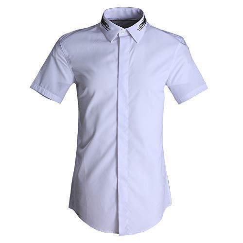 Photo of LIUXING-TUMI Mens Regular Fit Short Sleeve Dress Shirts Summer Casual Business Work Button Down Shirt Teenager Boys Plain Cotton Shirt Formal Party Shirts Size M L XL XXL 3XL