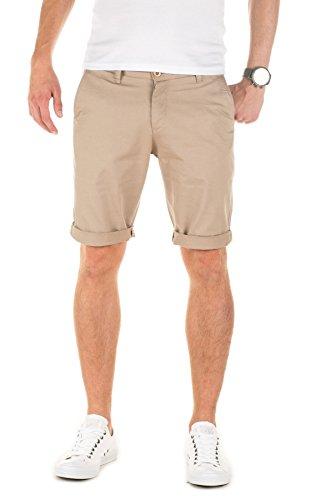 WOTEGA Herren Solid Chino Shorts Penta - braune Kurze Maenner Sommer Chinohose - Bermuda Hose, Beige (Silver Mink 171312), W29