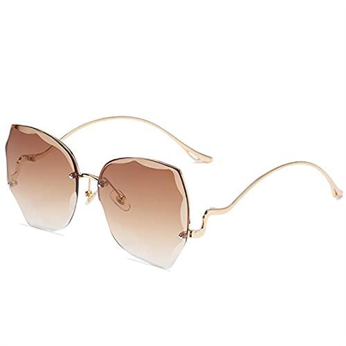 Gafas De Sol Gafas De Sol Graduadas para Mujer Gafas De Sol Sin Montura para Mujer Gafas De Gran Tamaño De Metal Retro Gris Tono Rosa Nobox