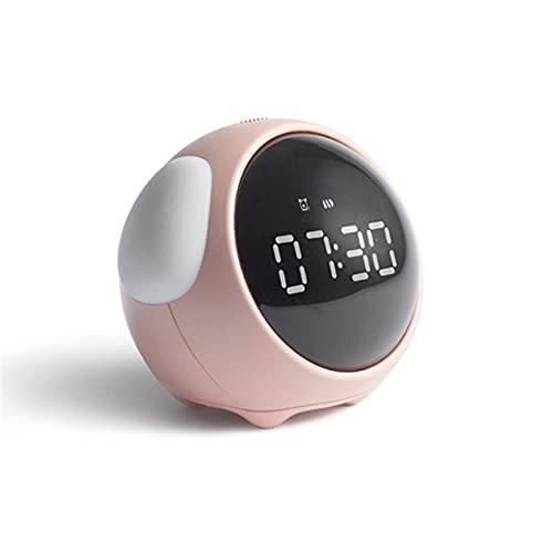 Liuying Reloj despertador para niños, lindo píxel Emoji reloj, luz nocturna LED electrónica digital despertador Snooze control de voz reloj rosa