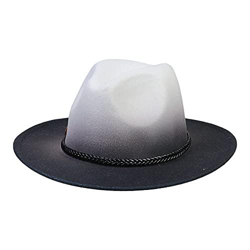 VPbao Vintage Fedora para hombres mujeres lana fieltro Panamá sombrero clásico ala ancha sombreros con DIY hebilla corazón, Y: Gradiente Gris, Taille unique