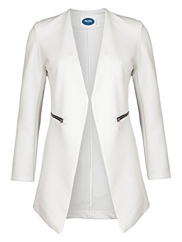 4tuality AO Long Blazer kragenlos mit Zipper weiß Gr. L