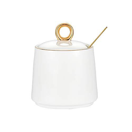 Azucarero blanco dispensador de sal recipiente de cerámica azucarero con tapa y cuchara para el hogar y la cocina