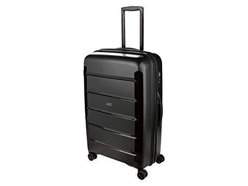 TOPMOVE® Maleta trolley de viaje robusta de polipropileno, con función de identificación de 73 l, volumen máximo de 25 kg, peso de llenado 4 ruedas, color negro
