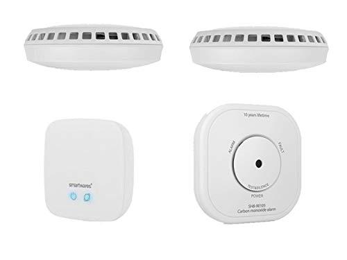 SMART HOME Brandschutz Set: Zentrale & 2x Funkrauchmelder + CO Melder mit ALARM aufs Smartphone - über gratis App