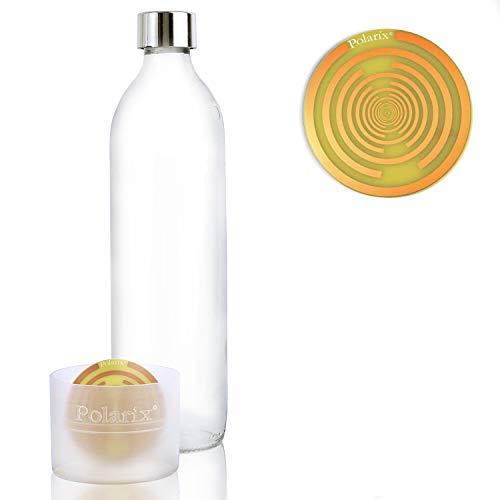 Polarix © - Glaswasserflasche 500ml (2 in 1) | Polarix Glasflasche belebt Wasser - ohne Chemie | Polarix Disc unter die Flasche gelegt | Funktioniert anders als die informierte Glasflasche