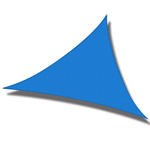 Cool Area 10' x 10' x 10' Triangle Sun Shade Sail for Patio Garden Outdoor, UV Block Canopy Awning, Blue