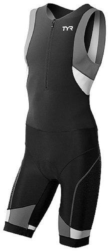 TYR 88TCMSXP6AM M Pad Front Zip Trisuit Swimwear, Black/Grey, Medium