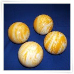 BuyBocceBalls Premium Quality EPCO 4 Ball 107mm Tournament Bocce Set - Marbled Yellow/White...